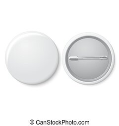 Blank vector white badge with place for your text. Both...