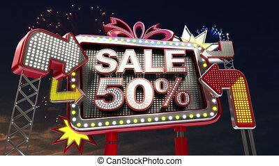 Sale sign SALE 50 percents in led light billboard promotion...
