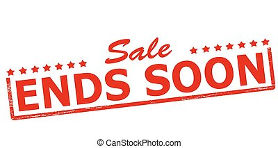 Sale ends soon - Rubber stamp with text sale ends soon...