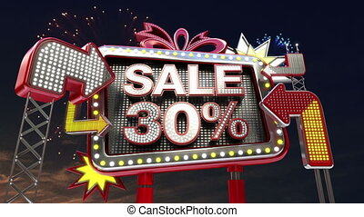 Sale sign SALE 30 percents in led light billboard promotion...