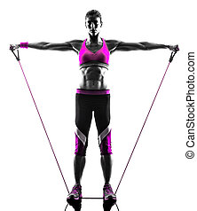 woman fitness resistance bands exercises silhouette - one...