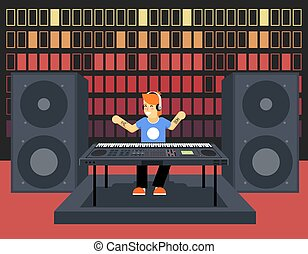 Musician Synthesizer Modern Music Player Concept Character Icon Flat Design on Stylish Sound Waves Pulse Audio Equalizer Background Template Vector Illustration