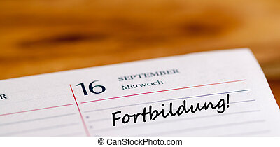 Fortbildung writen on a calender page