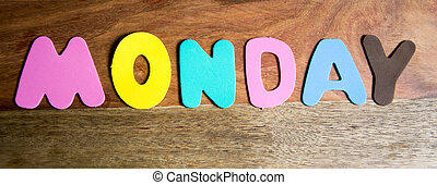 monday - Word monday formed by colorful letters