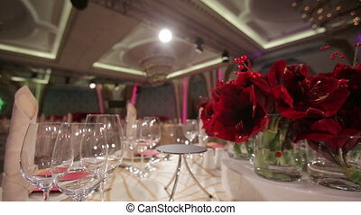 Table decorated with flowers - Festive table decoration...