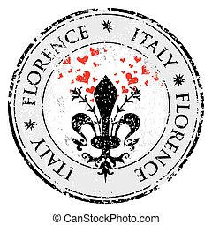Love heart to The fleur de lis of Florence, travel...