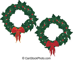 Holly festive wreaths.. - Holly leaves and berries forming a...
