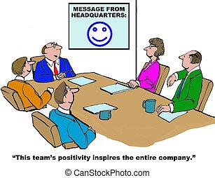 Positive Team - Business cartoon about how the positive team...
