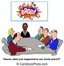 Stock Price - Business cartoon showing increase in stock...