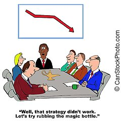Strategy Failed - Business cartoon showing failed strategy,...