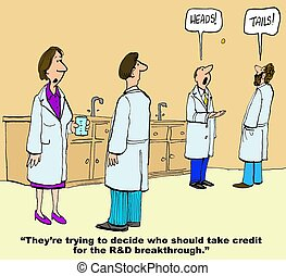 R and D Breakthrough - Business cartoon showing two...