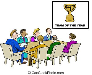 Team of the Year - Business cartoon showing team of the year...