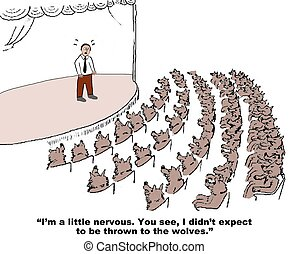 Stage Fright - Business cartoon about stage fright.