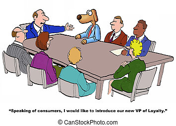 VP of Loyalty - Business cartoon about VP of loyalty.