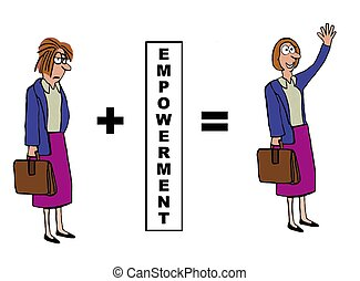 Empowerment - Business cartoon showing the positive impact...