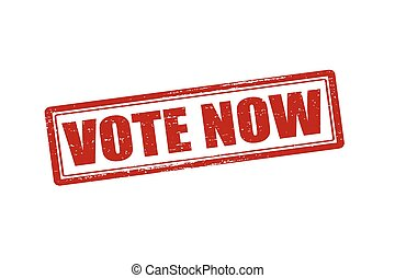 Vote now - Rubber stamp with text vote now inside, vector...