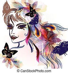 Beautiful fairy girl with long hair and butterflies sit on...