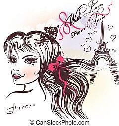 piękny, francuski, coqette, dziewczyna, i, Eifel, wieża,...