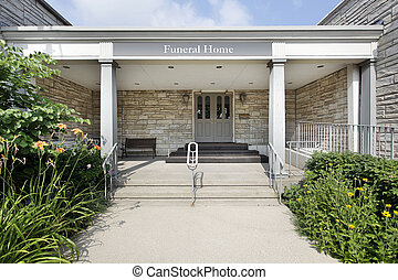 Funeral home with stone entry - Outside view of funeral home...