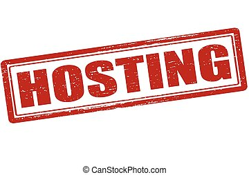 Hosting - Rubber stamp with word hosting inside, vector...