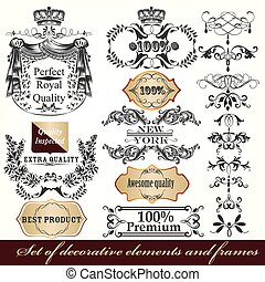 Collection of vector calligraphic frames and design element in victorian vintage style.eps