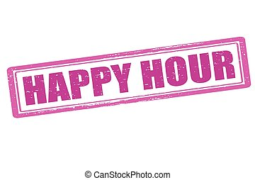 Happy hour - Rubber stamp with text happy hour inside,...