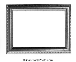 silver frame clipping path - old antique silver frame over...