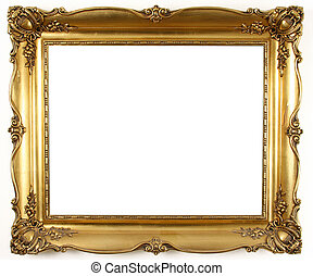 gold frame  - old antique gold frame over white background