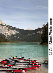 Kayaks at Emerald Lake, British Columbia, Canada - Kayaks...