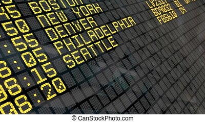 Airport Departures Board - Close-Up of an airport departure...