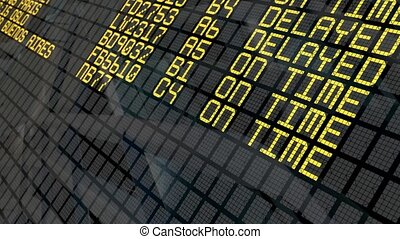Airport Departures Board - Close-up of an international...