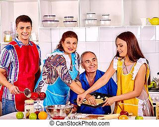 Happy senior family cooking at kitchen - Happy senior family...