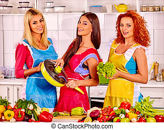 Group women preparing food at kitchen - Happy group women...