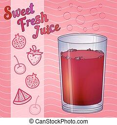 Glass full of red liquid,  juice,  wine