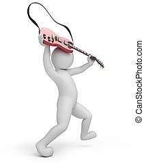 guitarist, 3d man breaks a guitar, illustration with a...