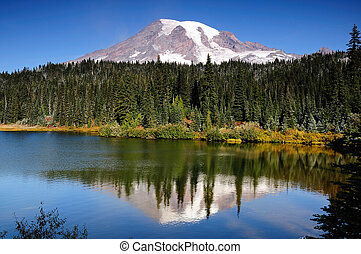 Mt Rainier with reflection - Scenic view of Mount Rainier...