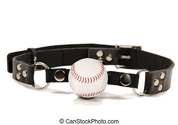 Baseball ball gag, isolated on white background.