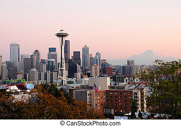 Seattle cityscape - Beautiful city of Seattle glowing at...