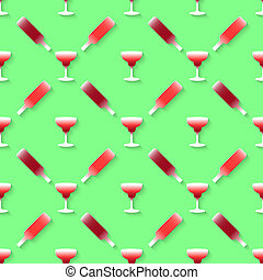 Pattern with color alcohol cocktail - Vector 3d seamless...