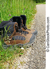 Hiking boots stand on the roadside beside a summer meadow