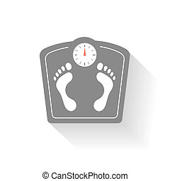 Bathroom scales icons set. Weight control signs with...