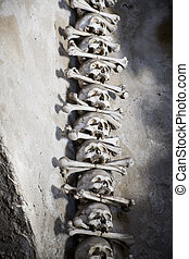 Skulls put together vertically with bones between - Skulls...