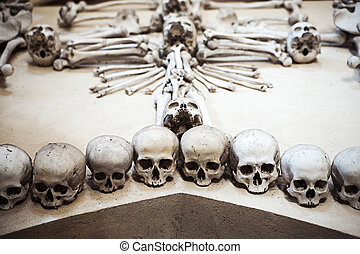 Collection of human skulls in a composition - Human remains...
