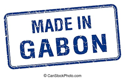 made in Gabon blue square isolated stamp