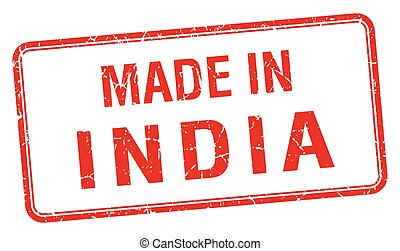 made in India red square isolated stamp