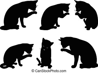 Vector Image - cat silhouette in Cleaning Paw pose isolated...