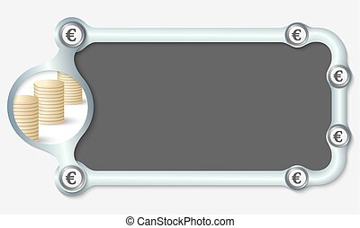 Metallic frame for your text and the symbol of euro