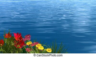 lake and flower