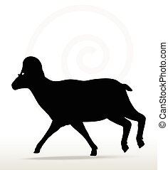 big horn sheep silhouette in running pose - Vector Image -...