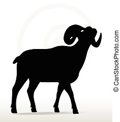 big horn sheep silhouette in face upward pose - Vector Image...
